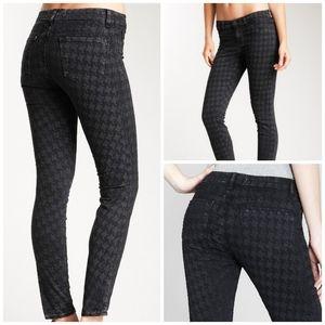 J Brand Black Vintage Houndstooth Skinny Jeans 28